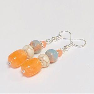 Orange Aventurine & Light Blue Jasper Earrings